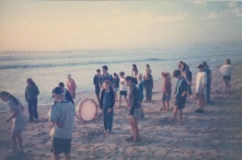 Practicing marching formation at the beach at the Band Camp in '98 in Lenox Head.
